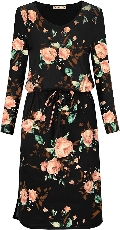 Guosurelly Women's Sleeveless Elastic Tie Belt Midi Dresses with Pockets