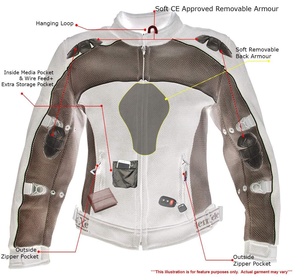 Amazon.com: xelement cf-508 Womens Armored chamarra de Malla ...
