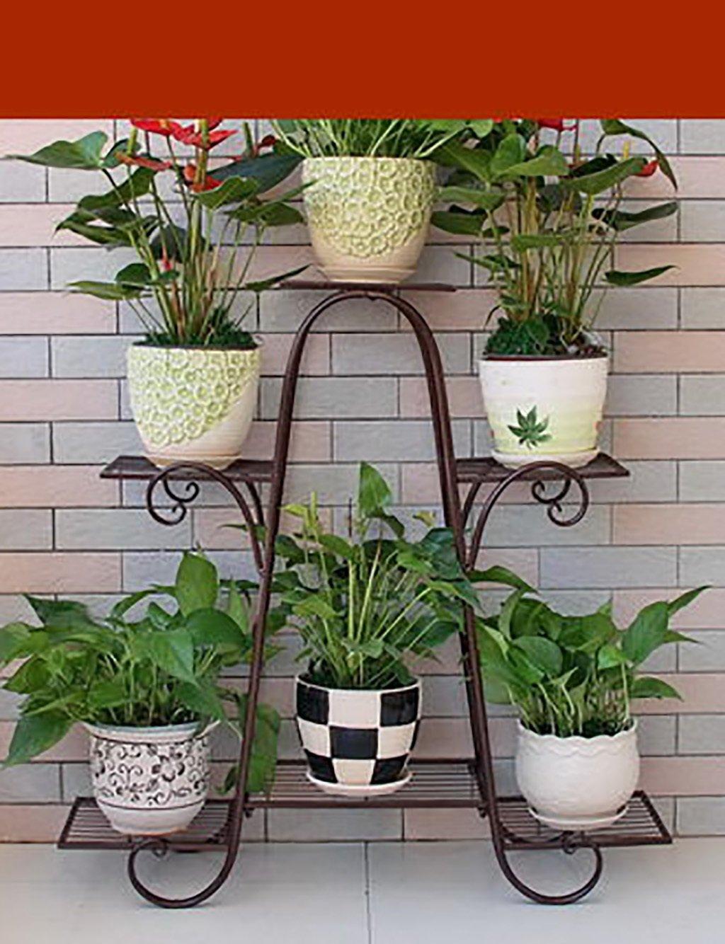 GAOCHAOXIANGHJ Blumentopf Regal Eisen Bodenart 6 Schichten Blumenregal europäischer Stil Ländlichen Innen- draussen Bonsai steht ( farbe : Messing , größe : 83cm*25cm*83cm )