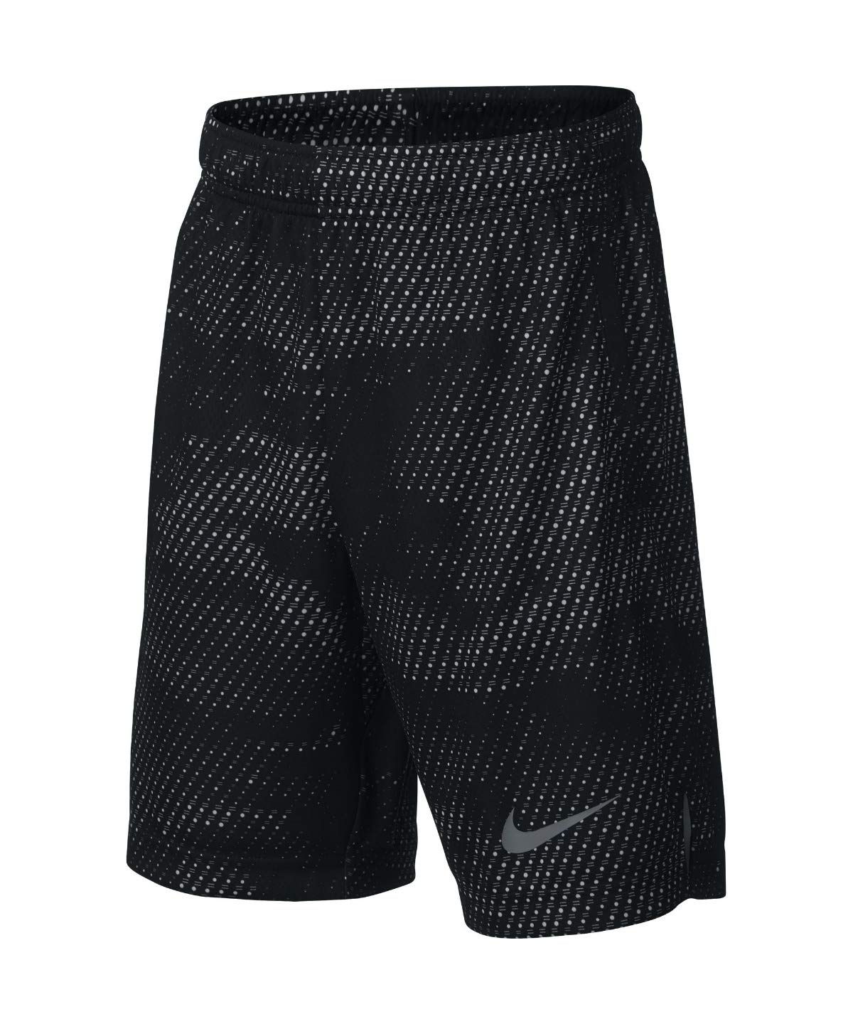 Nike Boy's Athletic Dry Printed Fly Comfortable Elastic Training Shorts with Pockets (Black/X-Small)
