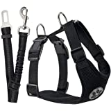 SlowTon Dog Car Harness Seatbelt Set, Pet Vest Harness with Safety Seat Belt for Trip and Daily Use Adjustable Elastic Strap and Multifunction Breathable Fabric Vest (S, Black)