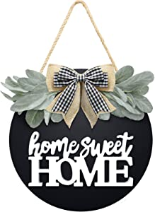 Welcome Home Sweet Home Sign for Front Porch Door Decor Farmhouse Wreath Sign with Premium Greenery and Buffalo Plaid Bow - Door Sign for Wreath Hanger Housewarming Gift for Porch Home Decor Black