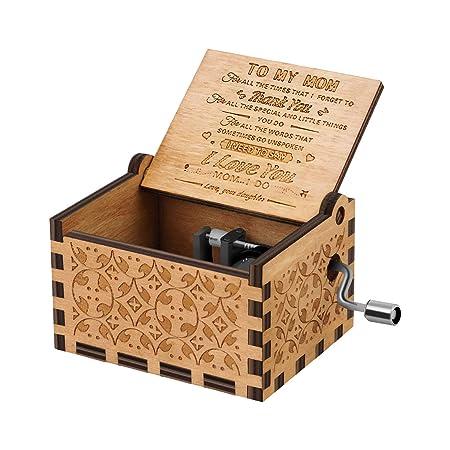 Kafete Caja de música con manivela de Mano grabada con Mecanismo ...