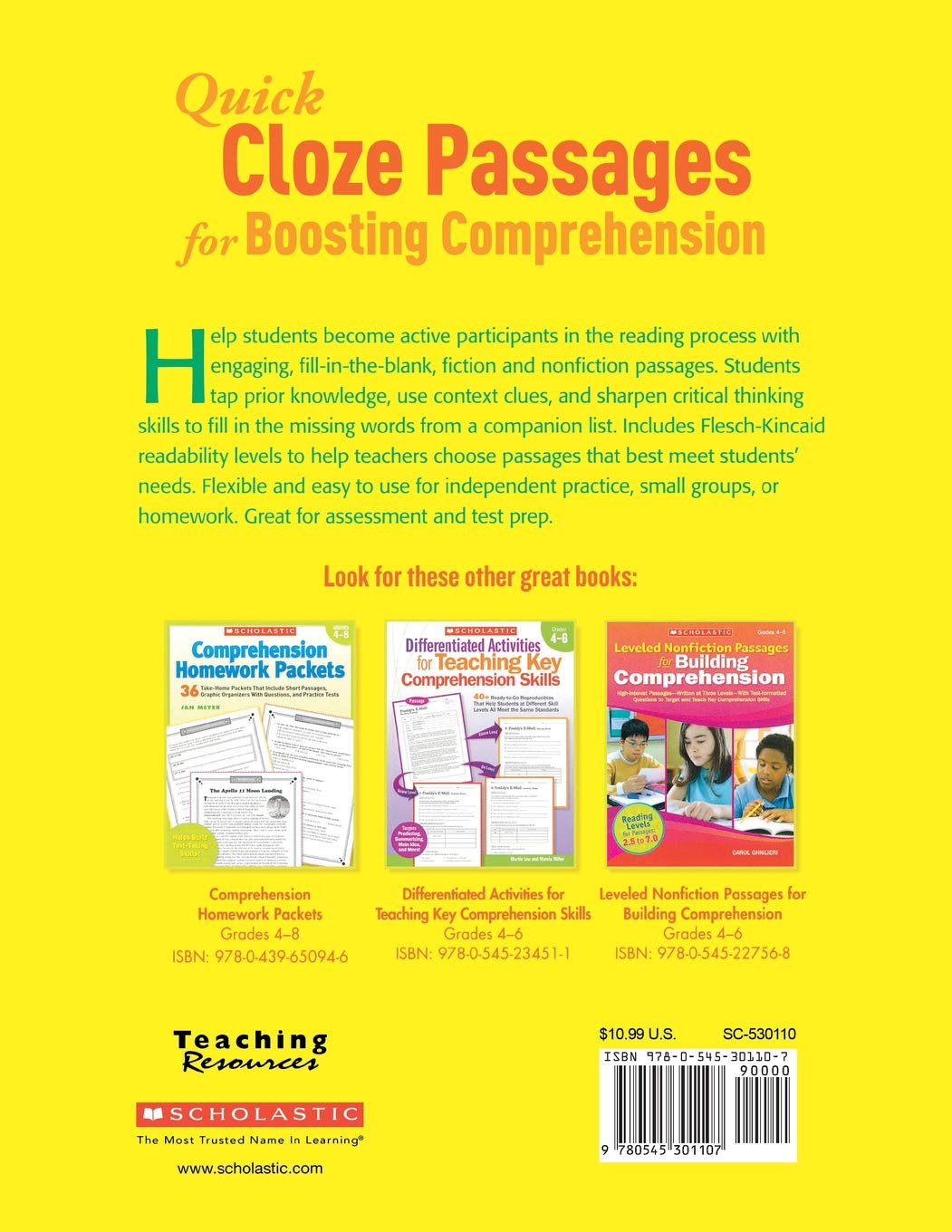 Amazon com: Quick Cloze Passages for Boosting Comprehension 4-6: 40