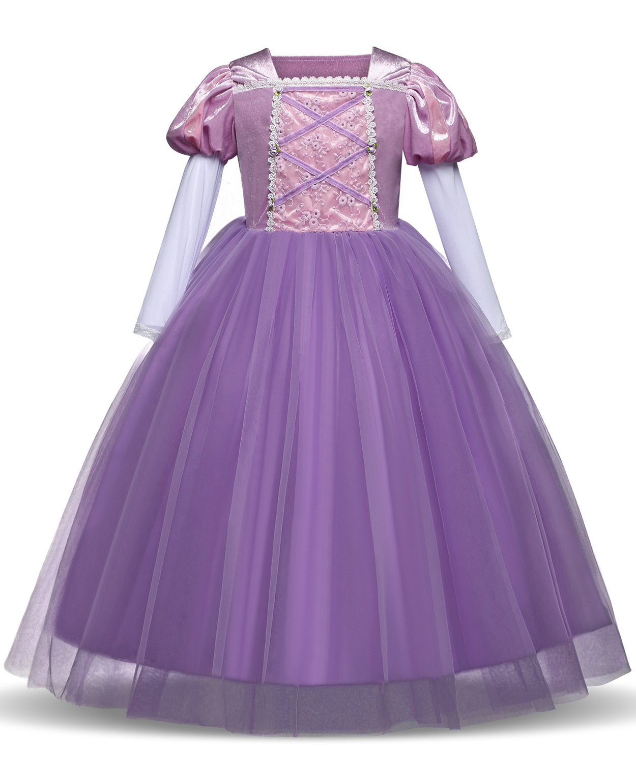 TTYAOVO Girl Chiffon Long Sleeve Costume Clothing Pageant Party Dress Size 6-7 Years Purple