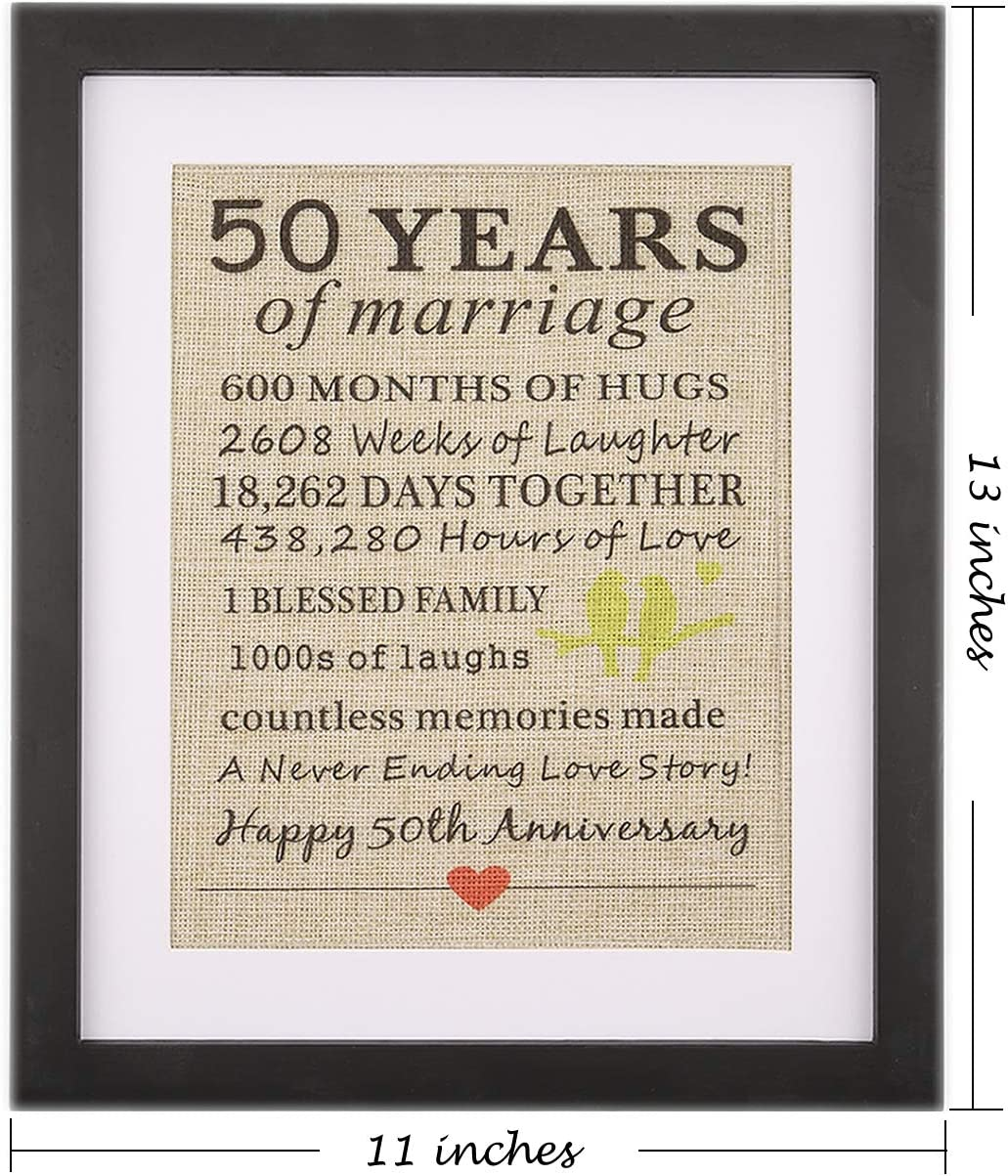 Amazon Com Framed 50th Anniversary Burlap Gift 50th For Couple