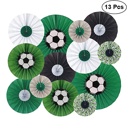 Amazon soccer hanging paper fan set football theme flower fans soccer hanging paper fan set football theme flower fans decorations kit for world cup party wedding junglespirit Image collections