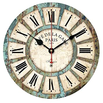 sticker wall clocks european style vintage creative big clock round wood wall clock home decor wall