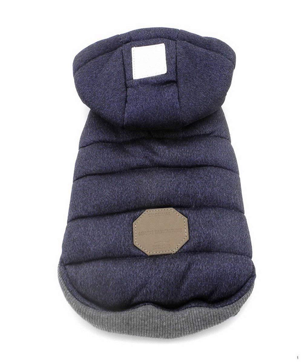 Dog Coat,Rdc Pet Dog Hoodie Warm Dog Apparel Winter Clothes Dog Cozy Jacket for Small Dog Medium Dog Cat (M, Blue)