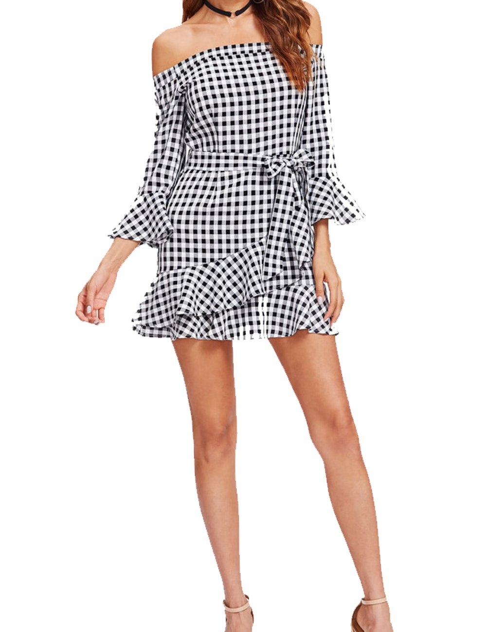Women's Summer Off Shoulder Casual 3/4 Sleeve Tunic Dress Striped Mini Dress XL