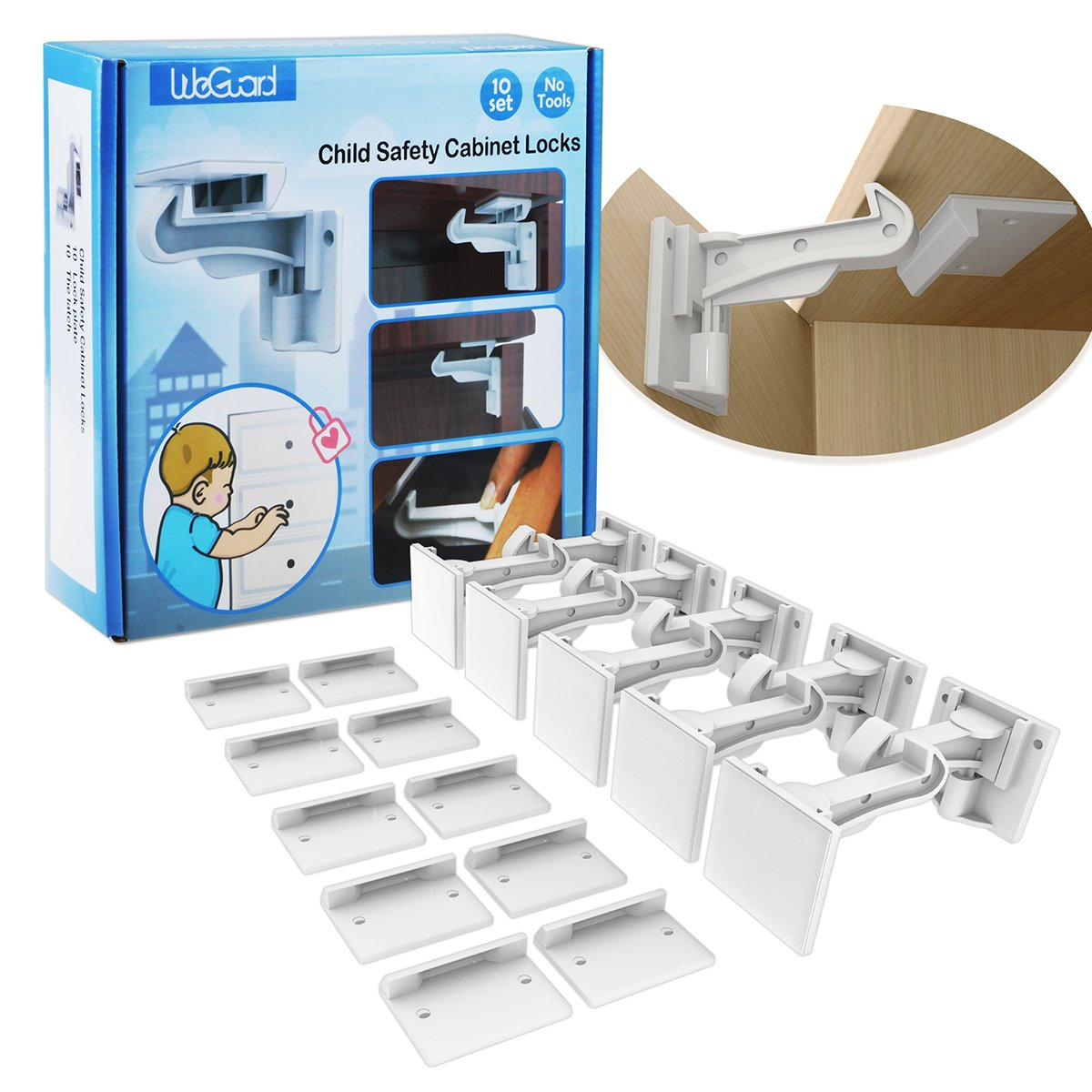 Cabinet Locks Child Safety, WeGuard 10 Pack [Upgraded] Invisible Baby Proof Drawer Cabinet Locks Latches - No Tool No Key Needed