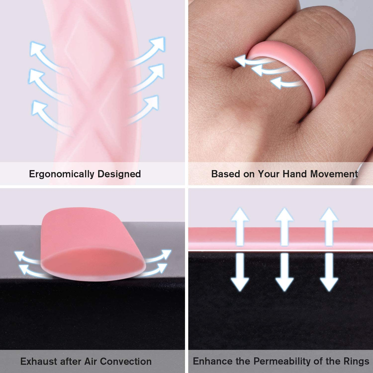 Egnaro Silicone Wedding Ring for Women Womens Silicone Wedding Band Inner Arc Ergonomic Breathable Design with 2 Colors