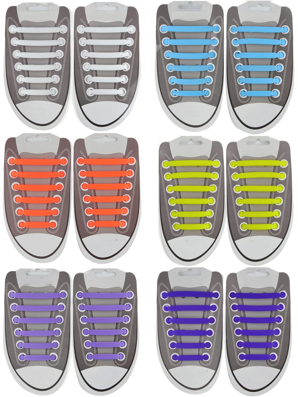 Ayliss No Tie Shoelaces for Kids & Adults Elastic Running Laces Easy to Install,Mixed 6 Colors-72pcs