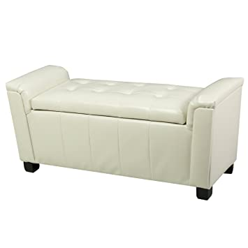 Strange Christopher Knight Home Living James Off White Tufted Leather Armed Storage Ottoman Bench Ivory Onthecornerstone Fun Painted Chair Ideas Images Onthecornerstoneorg