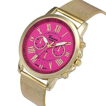 Relojes Pulsera Mujer, Xinan Moda Clásica de oro Cuarzo Ginebra Reloj de Pulsera de Acero inoxidable (Rosa Caliente): Amazon.es: Deportes y aire libre