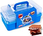 SUMPRI Smores Caddy -TWO FOLDING TRAYS Smore storage Box (Does NOT