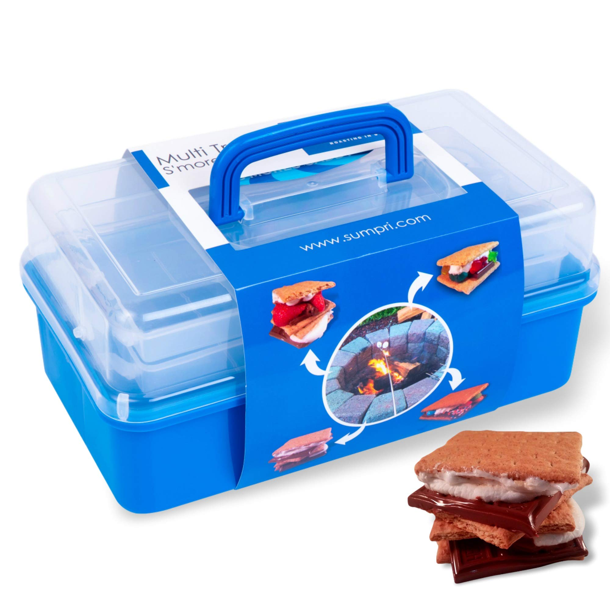 SUMPRI Smores Caddy with Two Folding Trays -Smore Box That Keeps Your Marshmallow Roasting Sticks/Crackers/Chocolate Bars Organized -Fire Pit Accessories Kit,Campfire Smore Skewers Storage Box (Blue) by SUMPRI (Image #1)