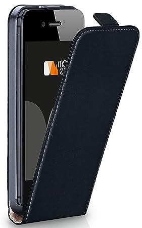 moex iPhone 4S | Hülle Schwarz 360° Klapp-Hülle Etui Thin Handytasche Dünn Handyhülle für iPhone 4/4S Case Flip Cover Schutzh