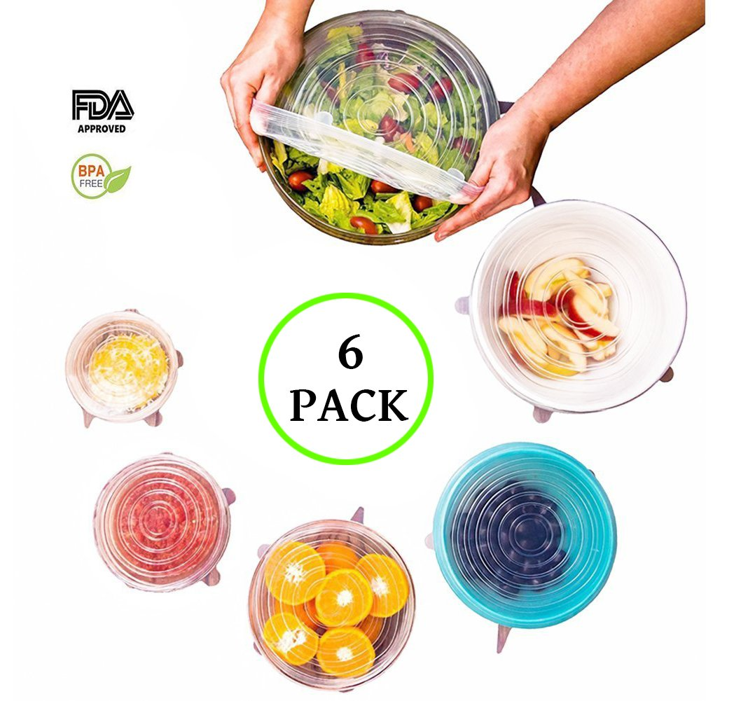 F-Sport Silicone Stretch Lids Bowl Cover Lids, Universal Flexible/Durable Food Saver Storage Cover Fresh-keeping Cup Pot Lids 6 Pack of Various Sizes(White)