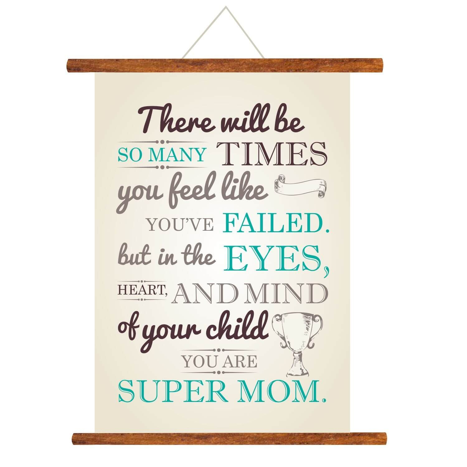 YaYa Cafe Mothers Day Greeting Cards Super Mom Scroll Card For Wall Hanging Decor