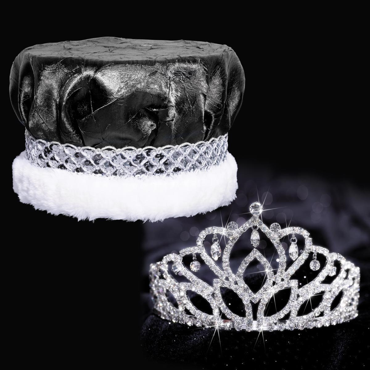Mirabella Royalty Set, 2 7/8 inch High Mirabella Tiara and Black Crushed Satin Crown with Silver Band, White Fur