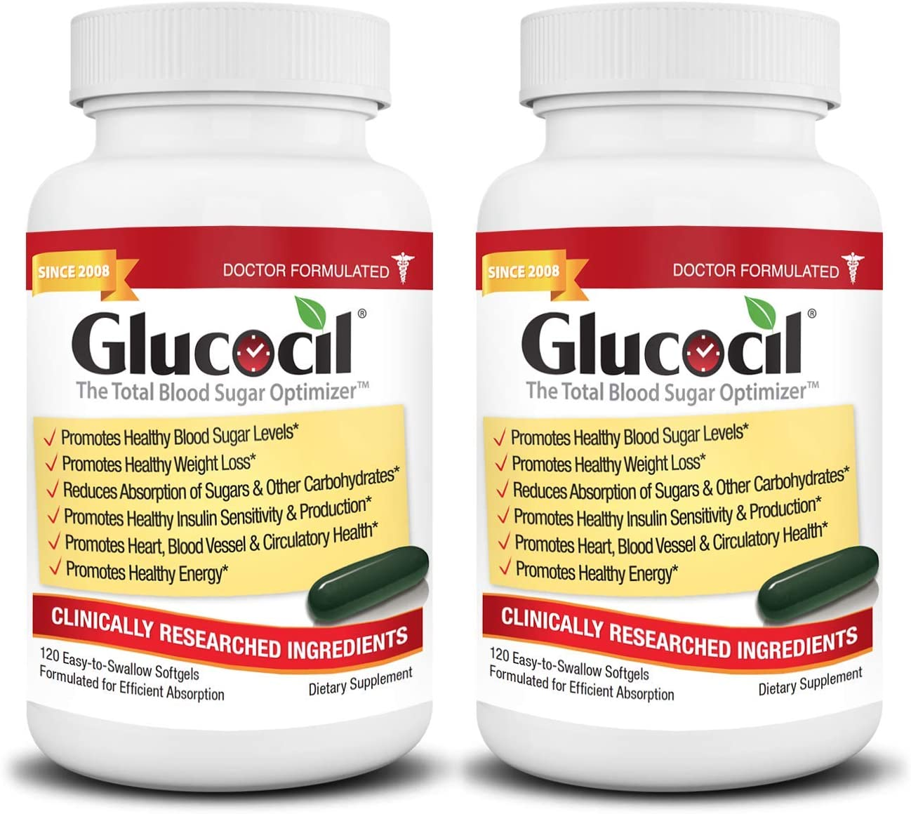 Glucocil - The Total Blood Sugar Optimizer - 1 Million+ Bottles Sold - The Simple Secret of Targeting All 3 Essentials for Normal Blood Sugar, Clinically Proven Ingredients, Trusted Since 2008, 2-Pack