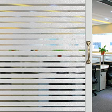 Great Mikomer Privacy Strip Window Film Static Cling Office Glass Door Film, Non  Adhesive Window Cling