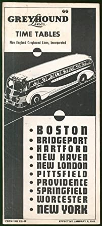 Greyhound Bus Lines Time Tables Boston-New York 1/8 1945 at Amazon's