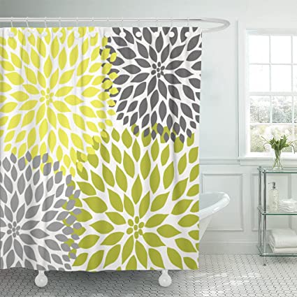 Accrocn Waterproof Shower Curtain Curtains Fabric Chartreuse Green And Gray Dahlias 72x72 Inches Decorative Bathroom Odorless