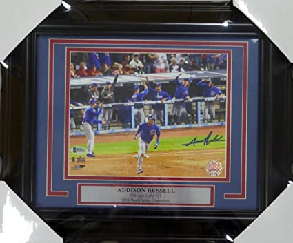91bd29183 Image Unavailable. Image not available for. Color  Addison Russell Signed  Autograph Framed 8x10 Photo Chicago Cubs World Series - Beckett ...