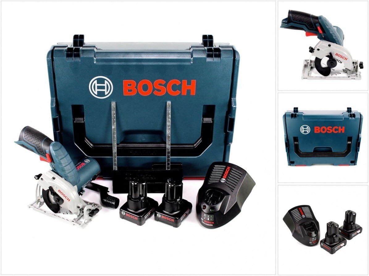 Bosch GKS 12V-26 - Sierra circular de mano con batería (12 V, 85 mm, en caja L-Boxx, 2 baterías de 6,0 Ah y cargador)