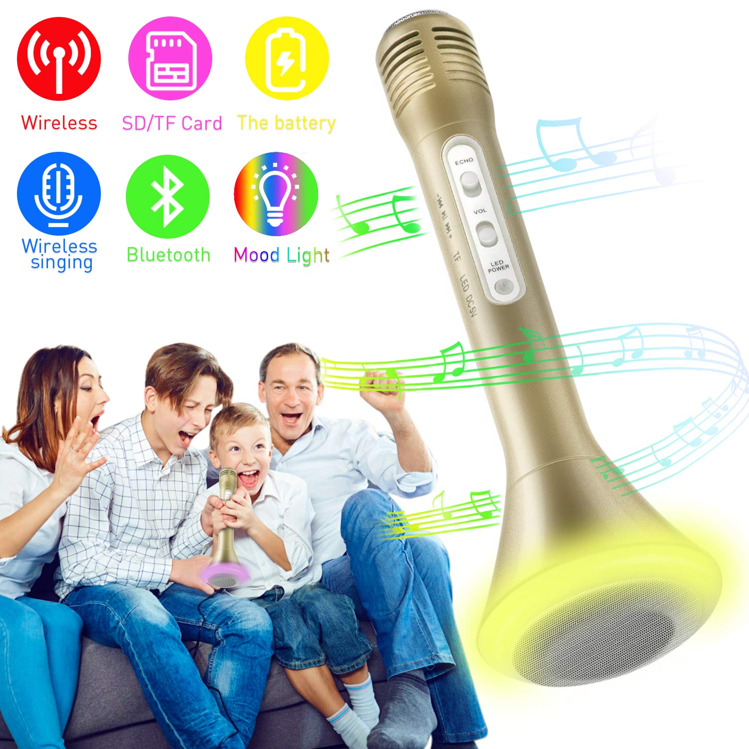 Microphone for Kids, Wireless Bluetooth Microphone with Bluetooth Speaker and Multi-color LED Lights Handheld Singing Machine Girls Boys Birthday Gift Compatible with PC/iPad/Smartphone - (Champagne)