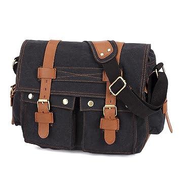Amazon.com : Econoled Men´s Vintage Canvas Leather Satchel ...