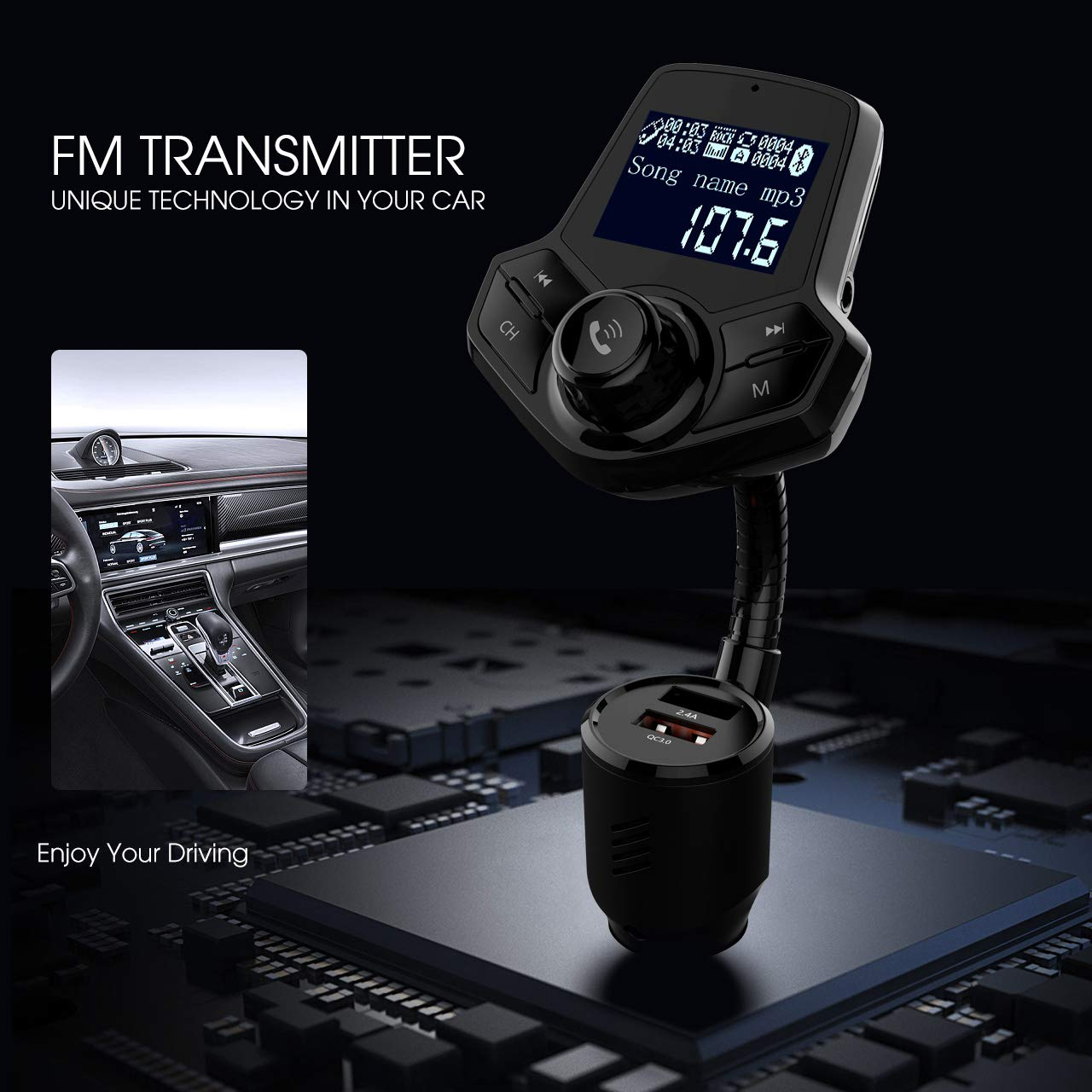 in-Car Bluetooth FM Transmitter Wireless Radio Adapter Hands-Free Car Kit with 1.44 Inches Display TF Card Mp3 Player Dual USB Ports AUX Input//Output Voltmeter Function for Smart Phones Audio Players
