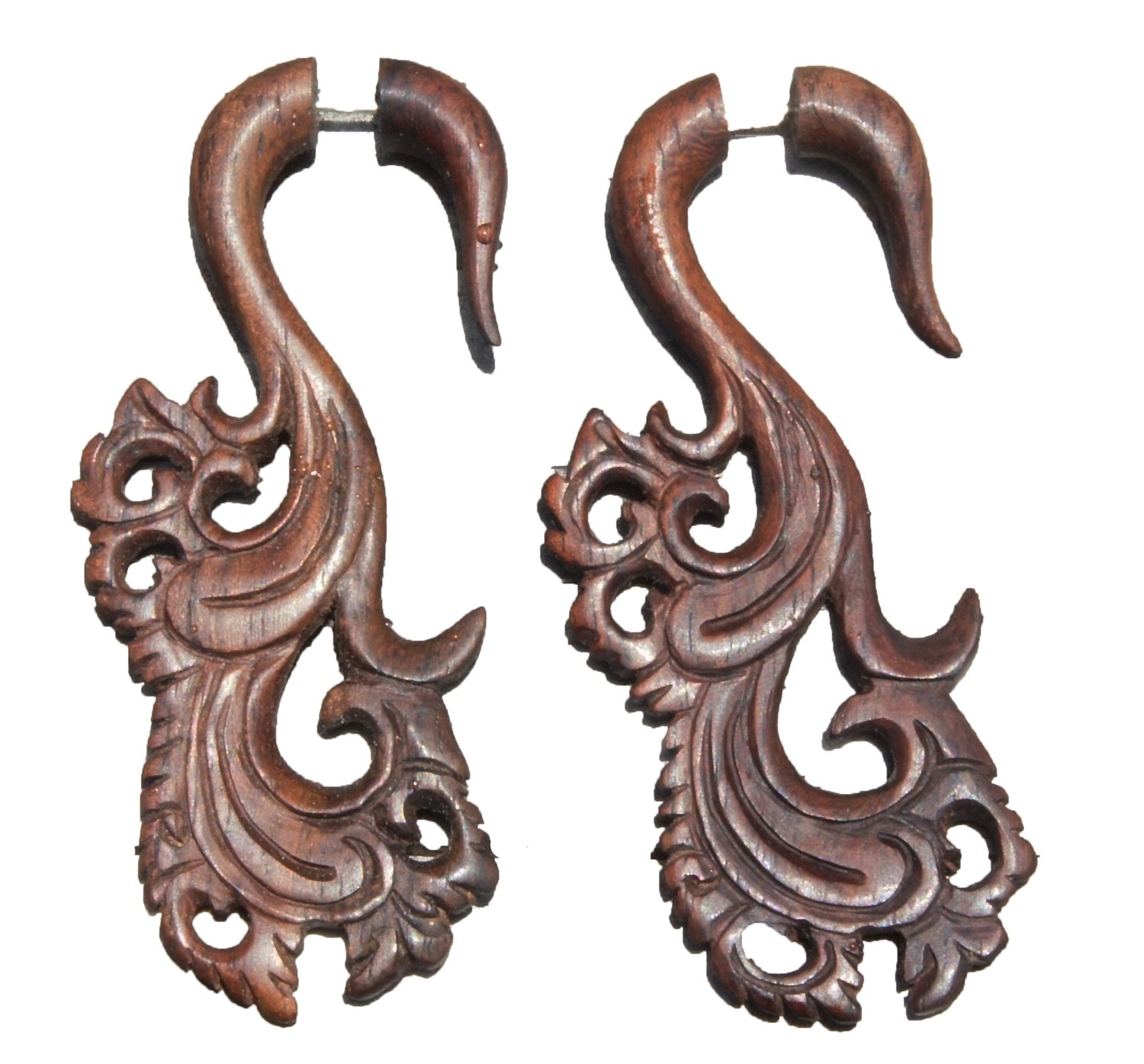 Bandaru Organics Illusion Sono Wood Floral Carved Hangers