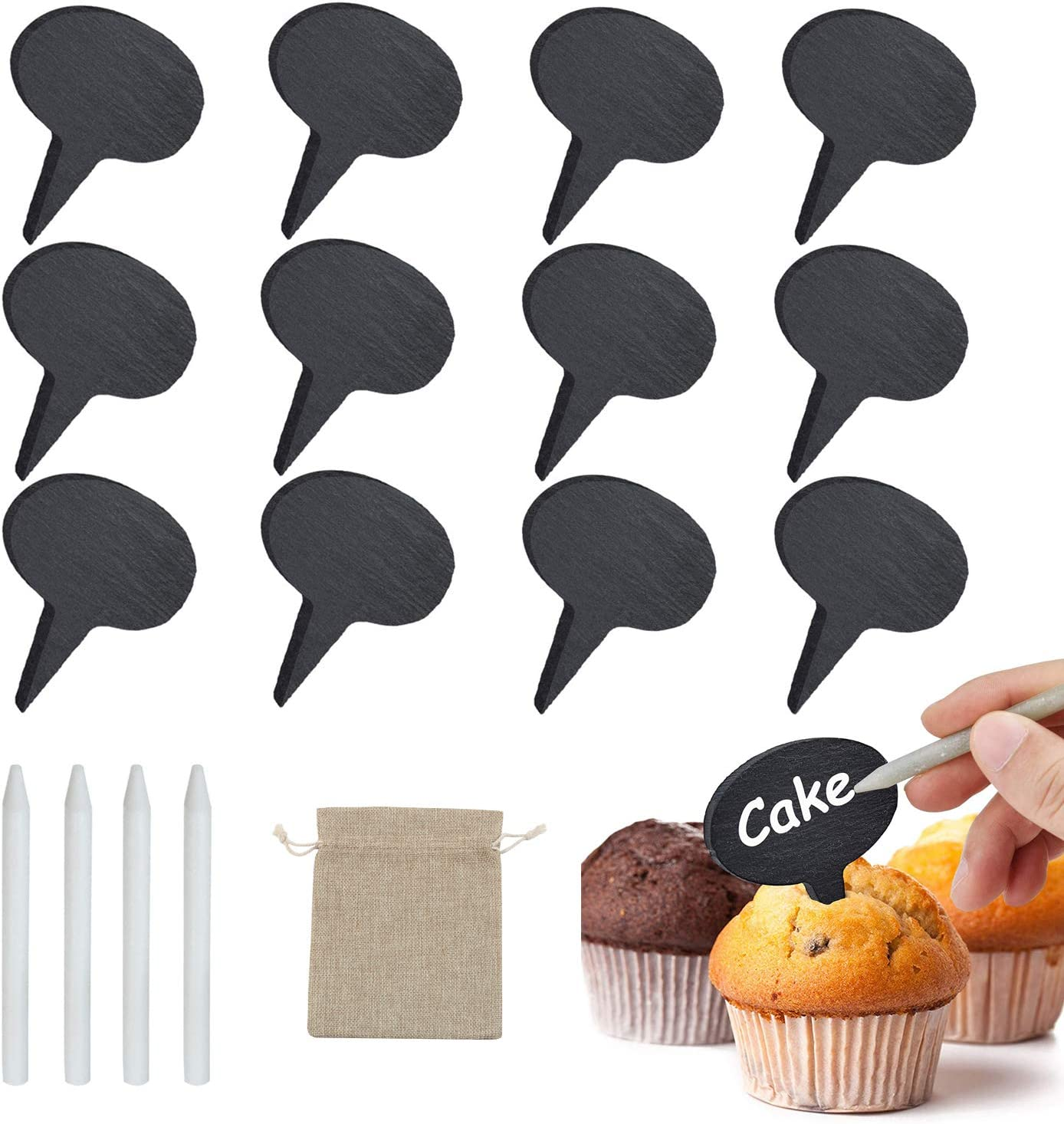 Cheese Markers Set, Natural Chalkboard Picks Cupcake Toppers, Cheese Name Tag for Birthdays, Weddings, Elegant Events with 12 Slate Cheese Labels & 4 Soapstone Chalks & 1 Burlap Bag