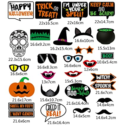Halloween Spel.Hippomee Halloween Party Photo Booth Props Party Props Diy Kit For Halloween Party Dress Up Costume Accessories Party Favors With Mustache Hats