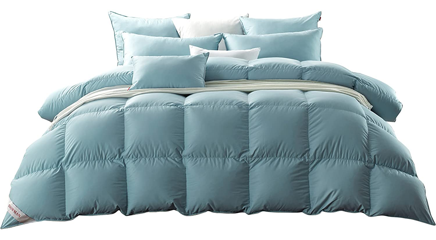 SNOWMAN Luxurious CAL King Size Light Weight Goose Down Comforter,100% Cotton Cover Down Proof,Blue