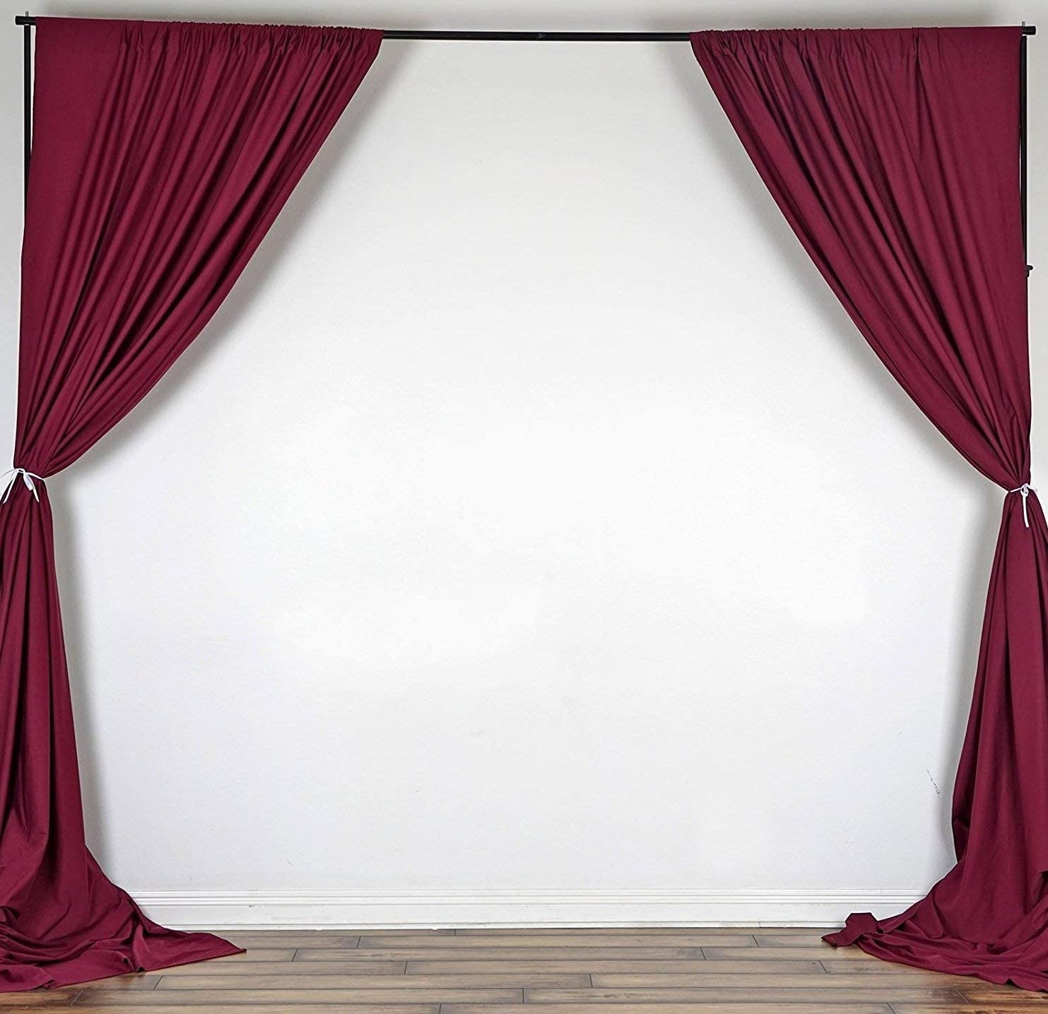 luvfabrics 2 Two Curtains 5 feet Wide x 10 feet high Polyester Backdrop Drapes Curtains Panels – Wedding Ceremony Party Home Window Decorations Burgundy