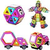 MUITOBOM Magnétiques Construction Blocs, 72 Pièces Construction Magnétique Empilage Jouets Educatifs pour Enfants avec Lettres et Numéros Autocollants