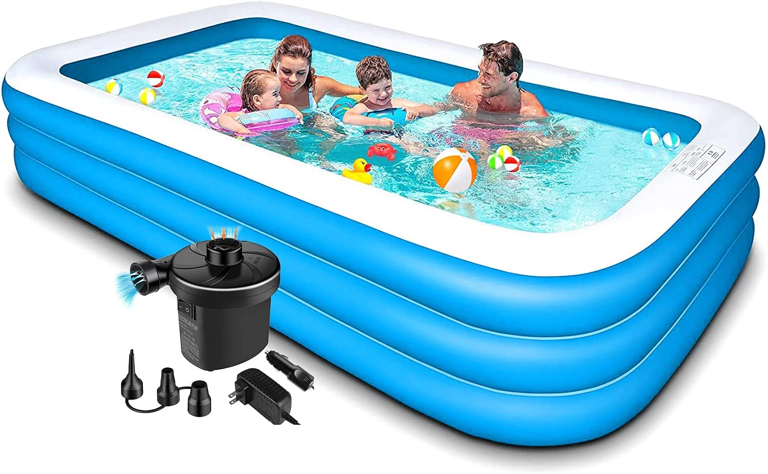 Swimming Pool For Kids And Adults 120x72x22in Kiddie Pool With Pump Piscinas Para Adultos Blow Up Pool Inflatable Pool Kids Pools For Backyard Toddlers Family Outdoor Garden Kitchen Dining