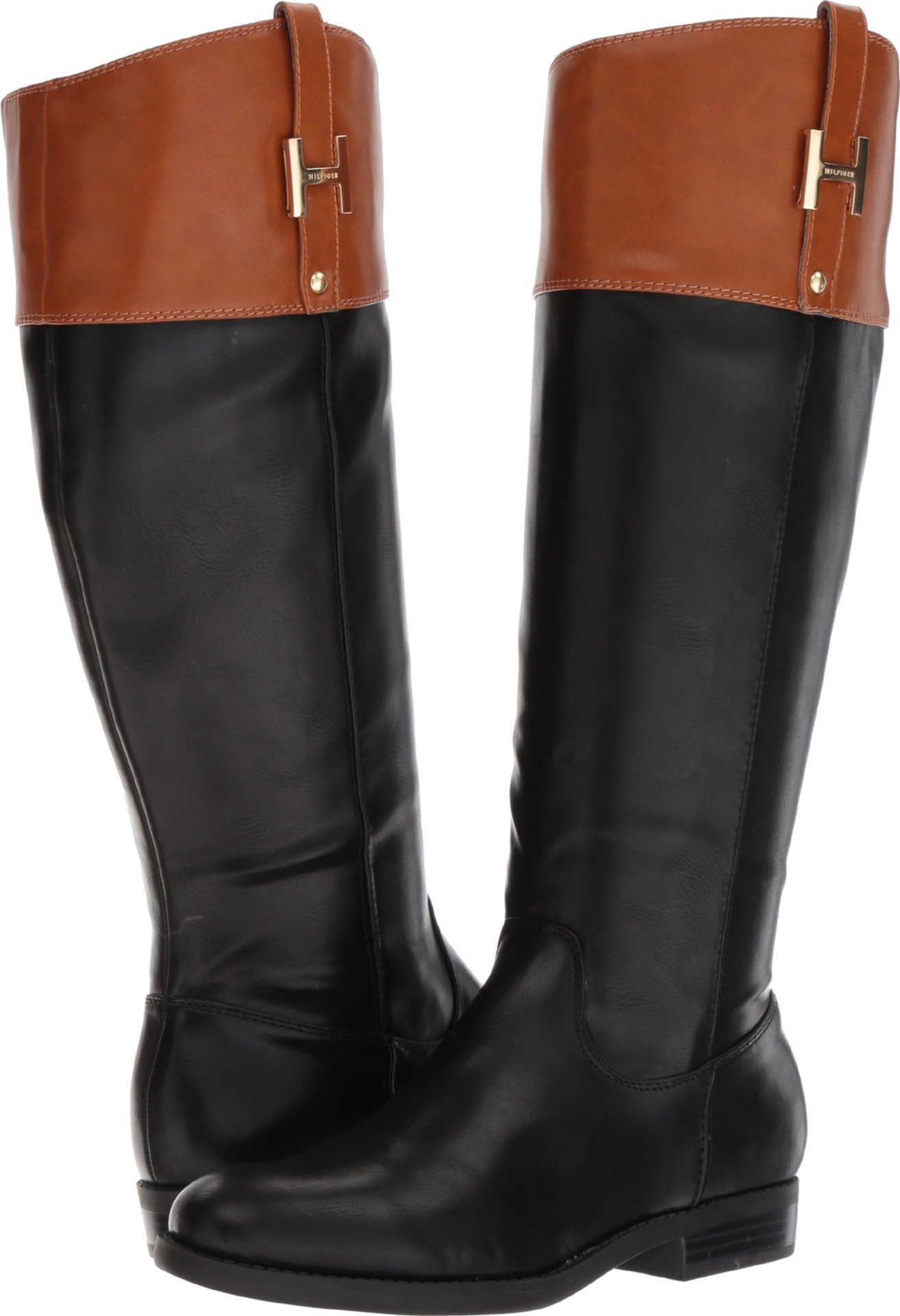 Tommy Hilfiger Women's Shyenne Equestrian Boot, Black/Cognac, 8.5 Medium US