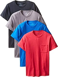 Colors May Vary Fruit of the Loom Men/'s Underwear 4P30BG Fruit of the Loom Mens 4-Pack Pocket Crew-Neck T-Shirt