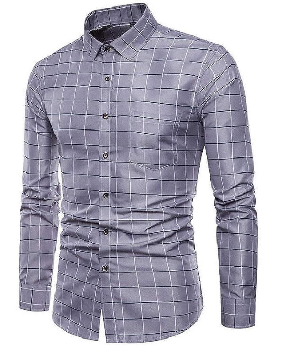 Nanquan Men Casual Big /& Tall Plaid Print Button Down Slim Fit Long Sleeve Business Shirts