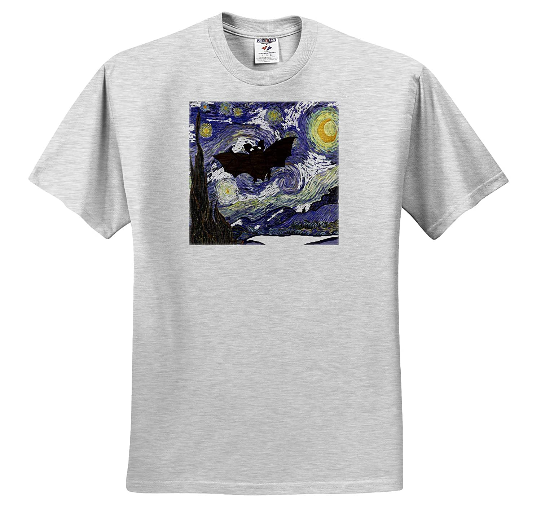 3dRose All Smiles Art ts/_317008 Funny Funny Cute Flying Bat in Starry Night Van Gogh Art Adult T-Shirt XL