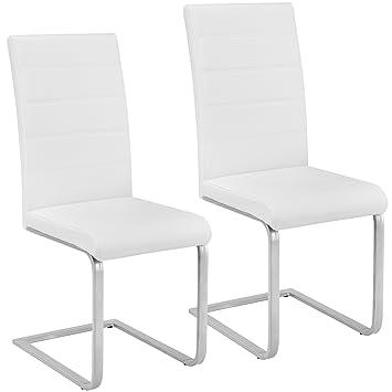 TecTake Set de sillas Cantilever de Comedor cantidades - (2X Blanco | Nr. 402550): Amazon.es: Hogar