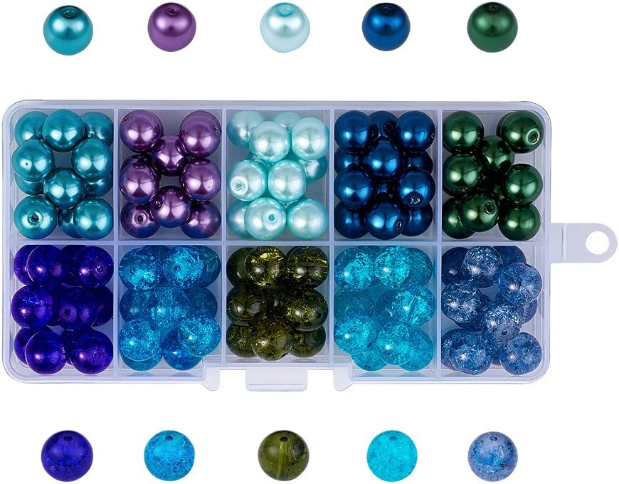 Pandahall 100pcs Ocean Mixed 10 Colors Transparent Baking Painted Crackle & Pearl Glass Bead Sets 10mm Round Loose Spacer Beads for Jewelry Making