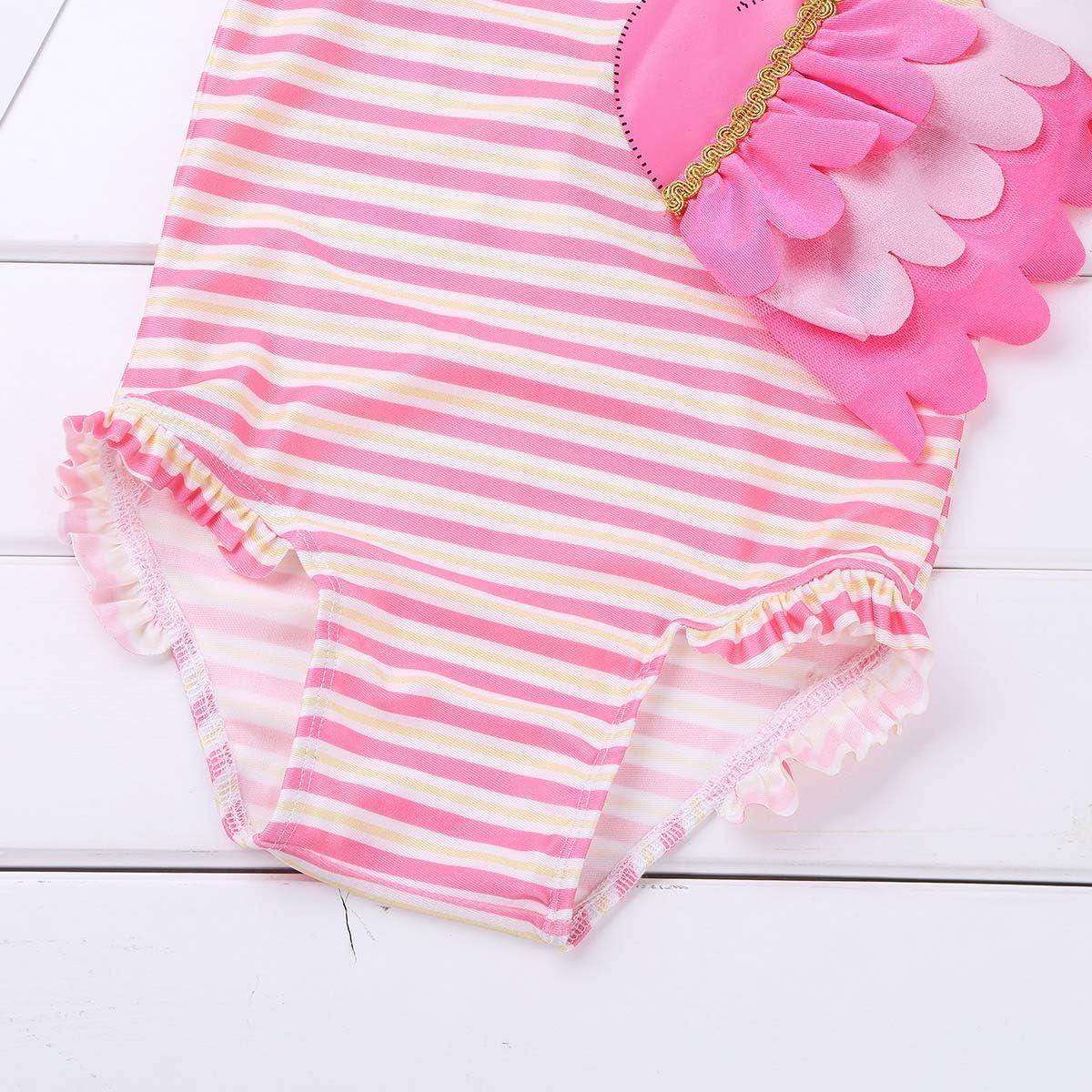 inlzdz B/éb/é Fille Combinaison de Natation Maillot 1 Pi/èce Flamingo Rose Fille Maillots Une pi/èce Body de Bain Barboteuse /à Rayures Bikini Halter V/êtements de Natation Plage