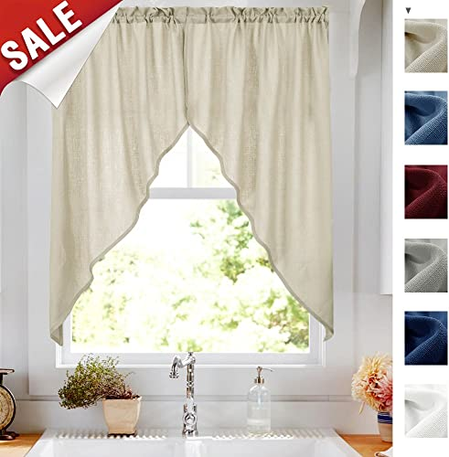 Swags Valance Semi Sheer Short Curtains Kitchen Casual Weave Cafe Curtains Half Window Treatments 2 Panels 36 L Beige