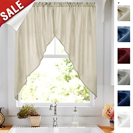 Jinchan Casual Weave Curtain Swag Valances For Bedroom, Home Decor Nature  Color Semi Sheer Rod